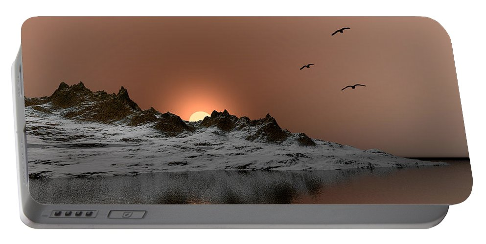 Landscape Portable Battery Charger featuring the digital art winter Ocean Scene by John Junek