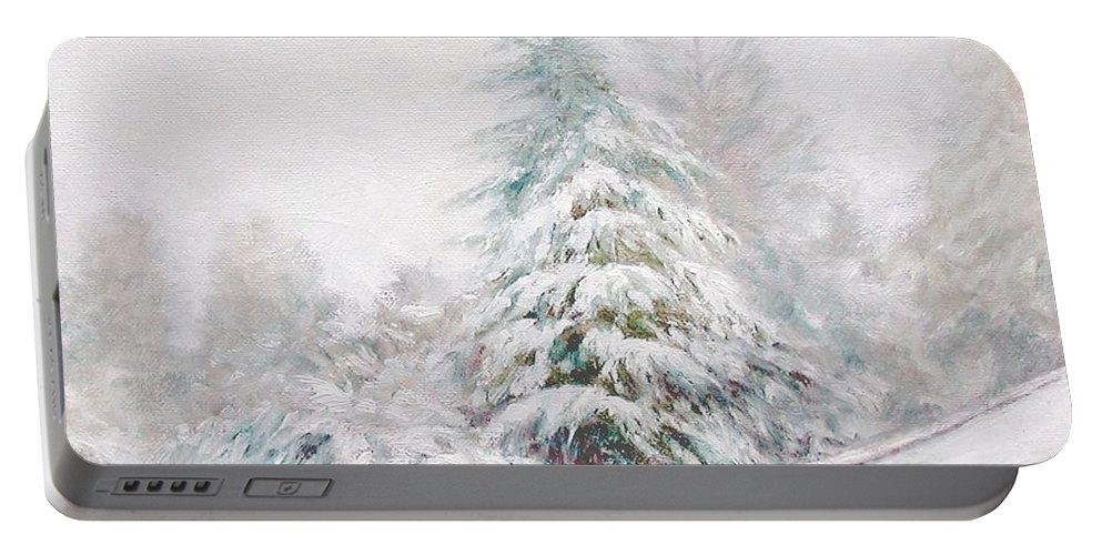 Winter Landscape Portable Battery Charger featuring the painting Winter Of 04 by Jim Gola