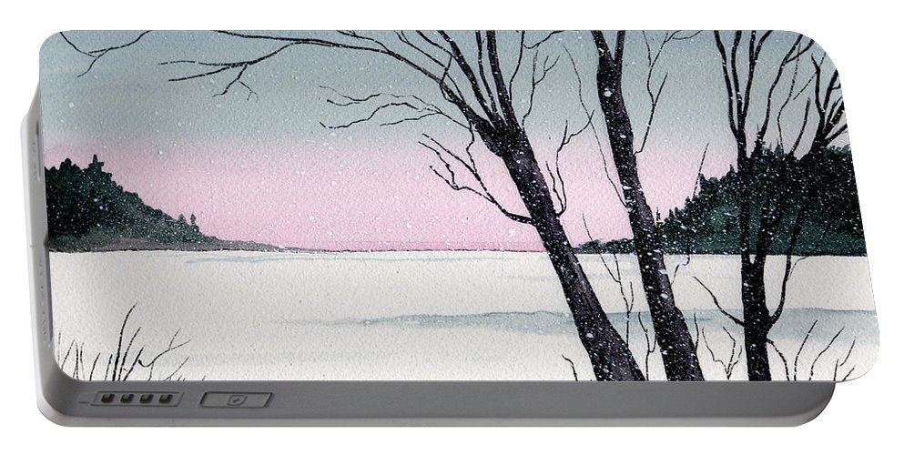 Landscape Portable Battery Charger featuring the painting Winter On The Lake by Brenda Owen