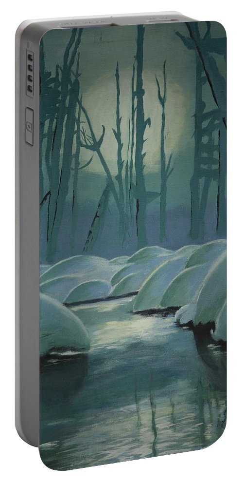 River Portable Battery Charger featuring the painting Winter Quiet by Jacqueline Athmann