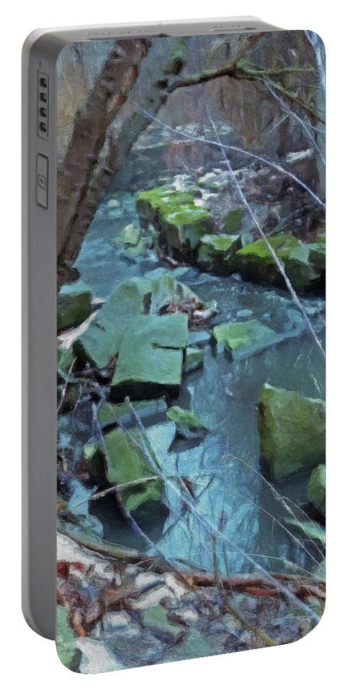 Landscape Portable Battery Charger featuring the photograph Winter Ravine by David Boudreau