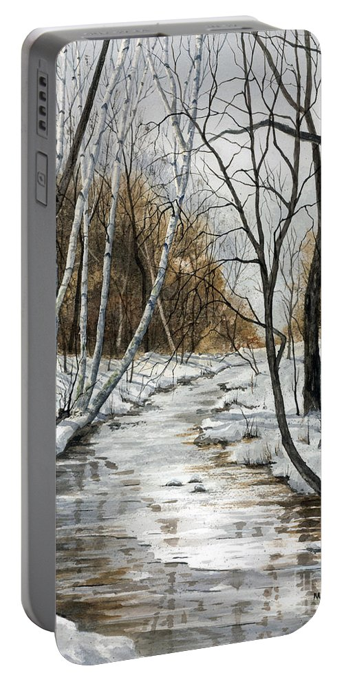 Minnesota Portable Battery Charger featuring the painting Winter River by Mary Tuomi