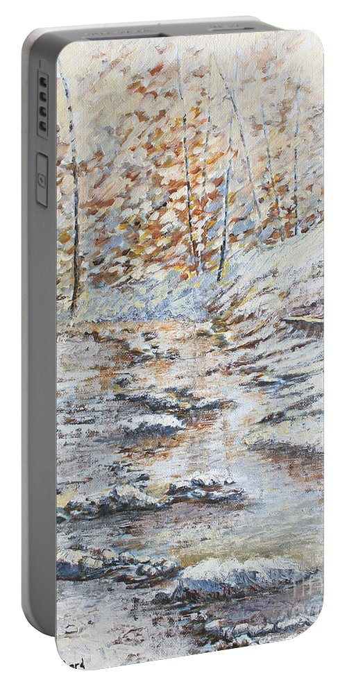 Landscape Portable Battery Charger featuring the painting Winter River by Todd Blanchard