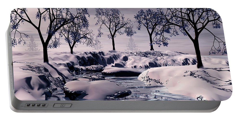 Winter Portable Battery Charger featuring the digital art Winter Scene by John Junek