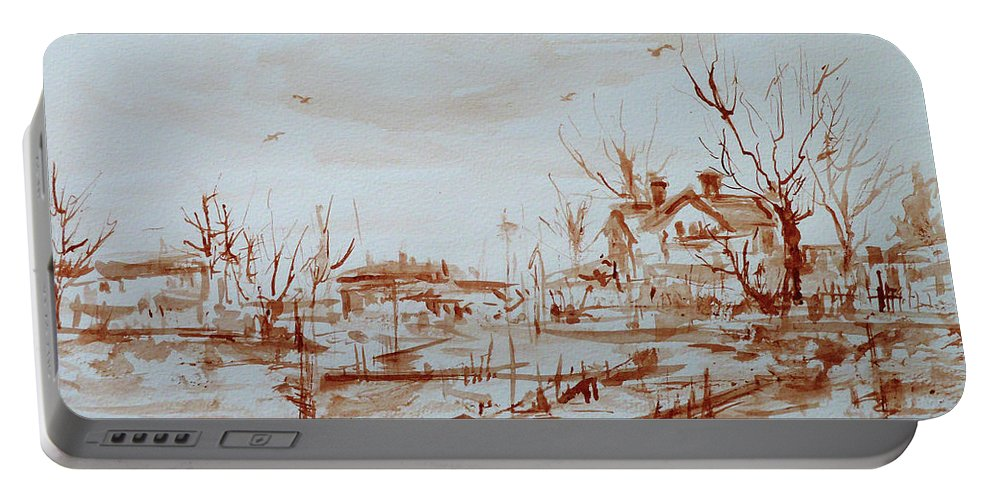 Landscape Portable Battery Charger featuring the painting Winter Sketch 1 by Xueling Zou