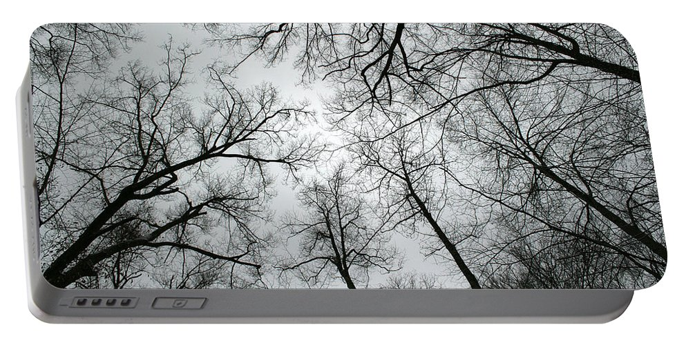 Winter Sky Tree Trees Grey Gloomy Peaceful Quite Calm Peace Cloudy Overcast Dark Portable Battery Charger featuring the photograph Winter Sky by Andrei Shliakhau