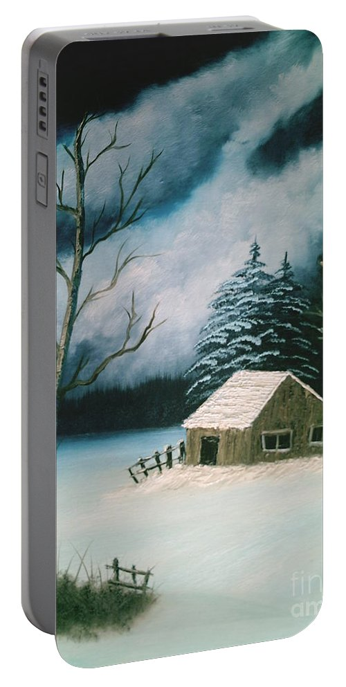 Winter Landscape Portable Battery Charger featuring the painting Winter Solitude by Jim Saltis