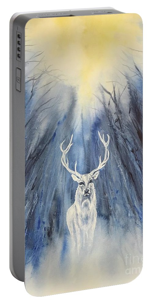 Yule Portable Battery Charger featuring the painting Winter Solstice - Yule by Deneb Arici