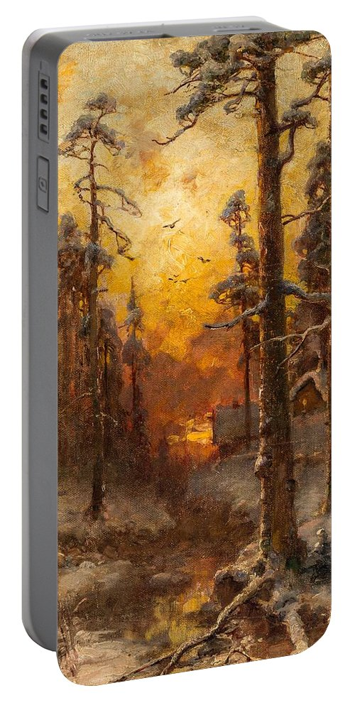 Yuliy Yulievich Klever And Studio (russian 1850-1924) Winter Sun Portable Battery Charger featuring the painting Winter Sun by MotionAge Designs