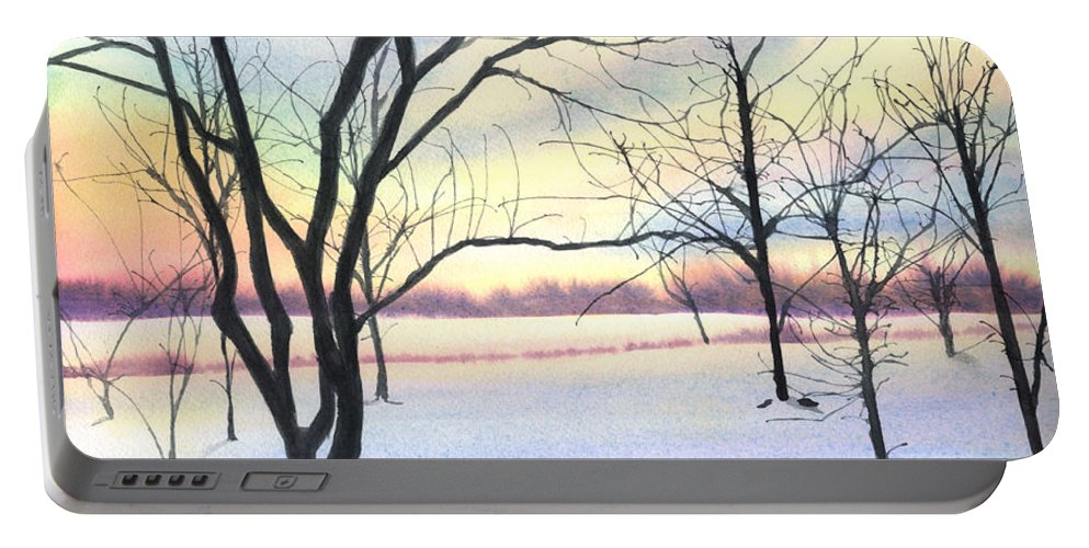 Sunrise Portable Battery Charger featuring the painting Winter Sunrise by Lynn Quinn
