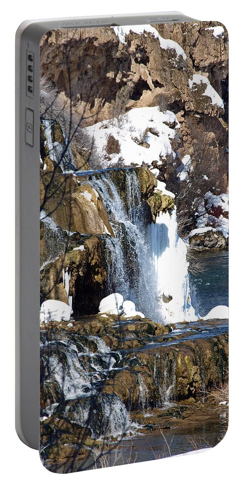 Nature Portable Battery Charger featuring the photograph Winter Time At The Falls by DeeLon Merritt