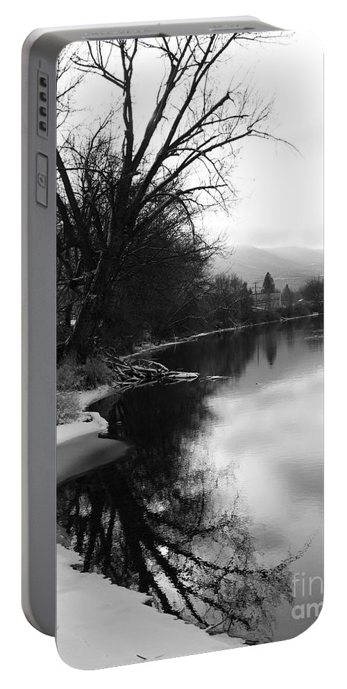 Black And White Portable Battery Charger featuring the photograph Winter Tree Reflection - Black and White by Carol Groenen