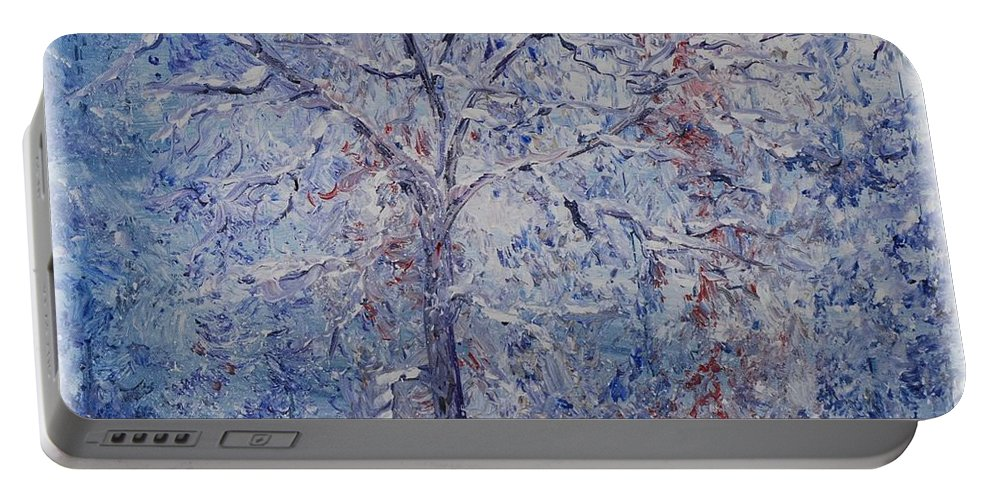 Winter Portable Battery Charger featuring the painting Winter Trees by Nadine Rippelmeyer
