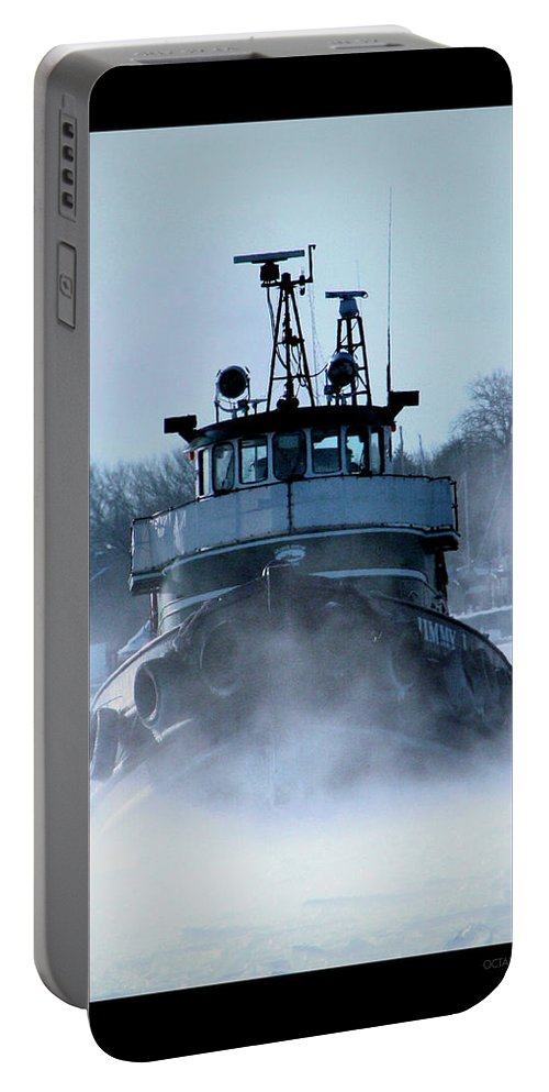 Tug Portable Battery Charger featuring the photograph Winter Tug by Tim Nyberg