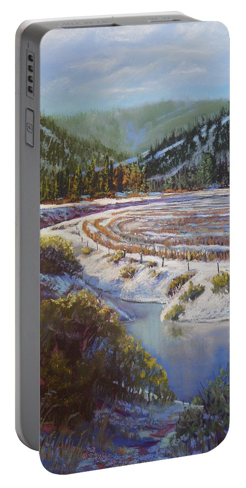 Lake Portable Battery Charger featuring the pastel Winter Wheat by Heather Coen