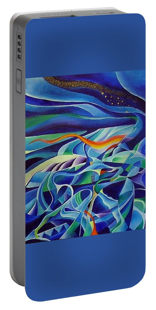Winter Vivaldi Music Abstract Acrylic Portable Battery Charger featuring the painting Winter by Wolfgang Schweizer