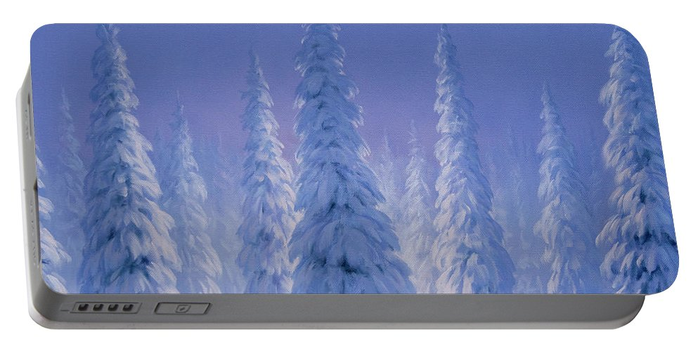 Winter Portable Battery Charger featuring the painting Winter Wonderland by Brian McCarthy