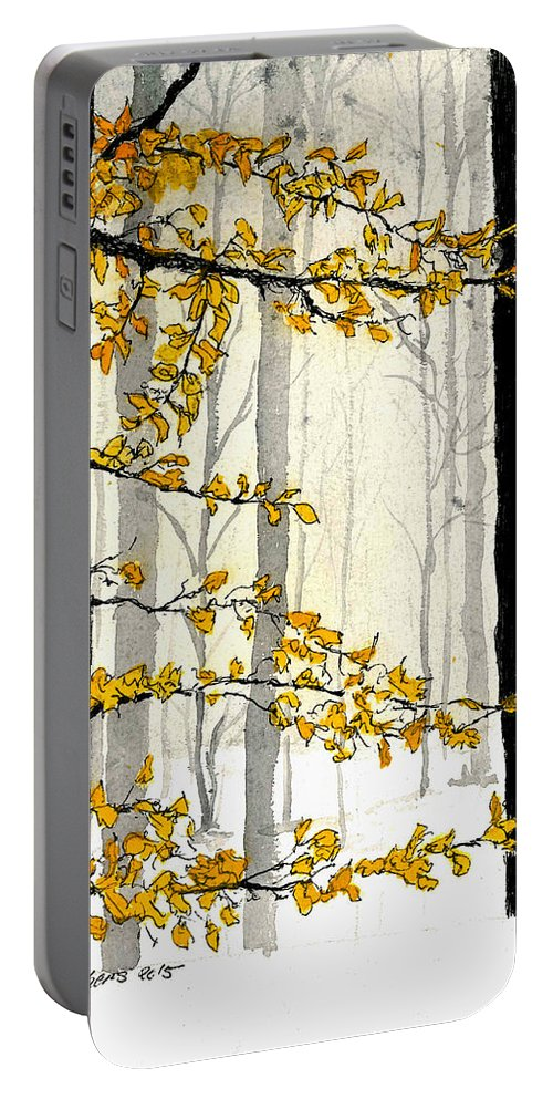 Nature Portable Battery Charger featuring the painting Winter Woods by Petra Stephens