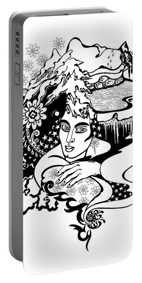 Snow Portable Battery Charger featuring the drawing Winter by Yelena Tylkina