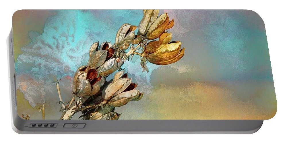 New Mexico Portable Battery Charger featuring the mixed media Winters Day Desert Yucca by Barbara Chichester