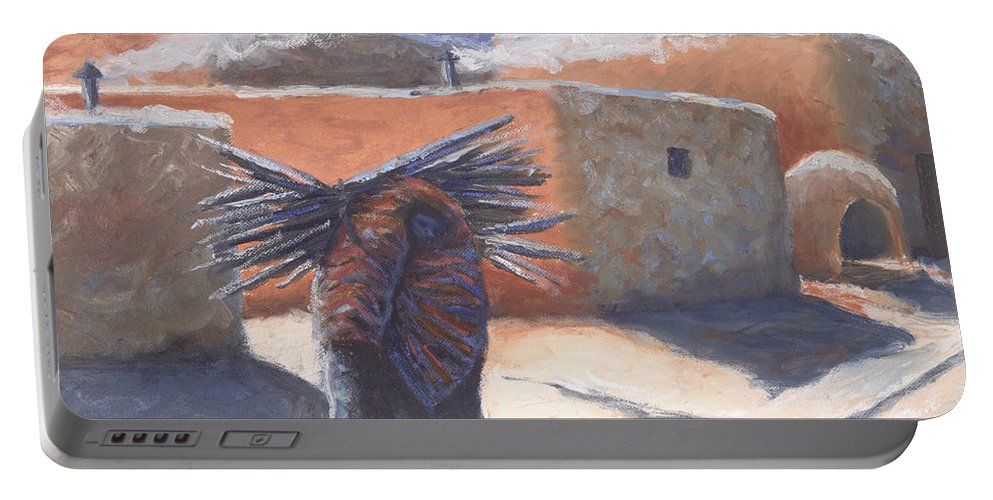 Adobe Portable Battery Charger featuring the painting Winter's Work by Jerry McElroy
