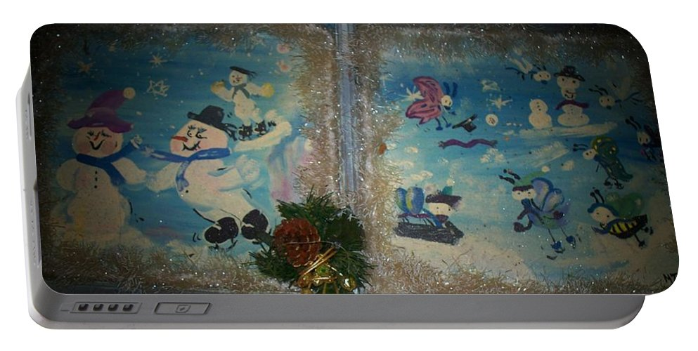 Snow Portable Battery Charger featuring the painting Wintertime Fun With Friends by Mandy Henninger christophel