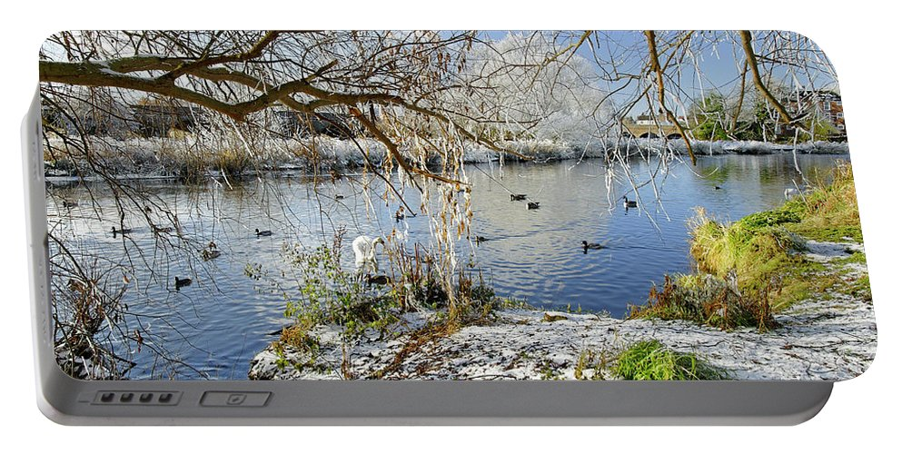 Europe Portable Battery Charger featuring the photograph Wintry River At Newton Road Park by Rod Johnson