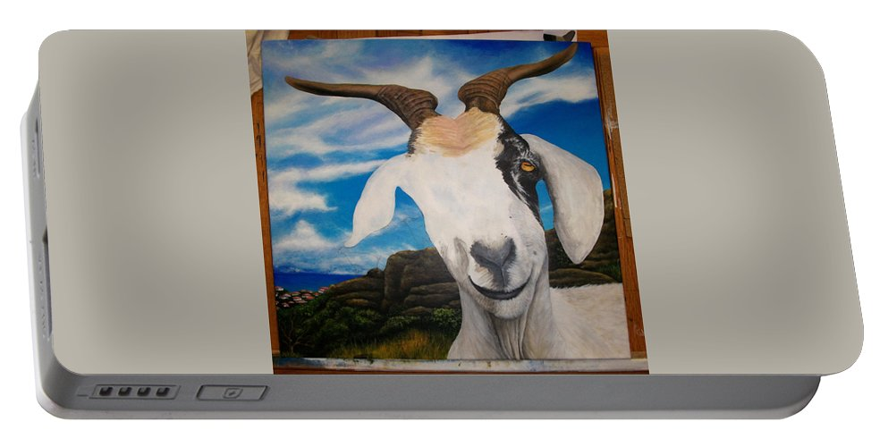 Portable Battery Charger featuring the painting Wip- Goats Of St. Martin by Cindy D Chinn