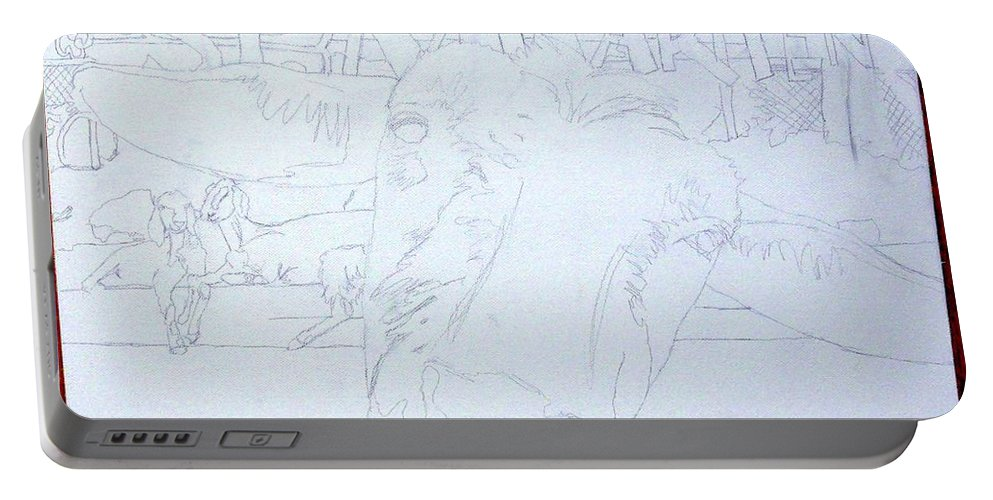 Portable Battery Charger featuring the painting Wip- Goats Of St. Martin- Sofie by Cindy D Chinn