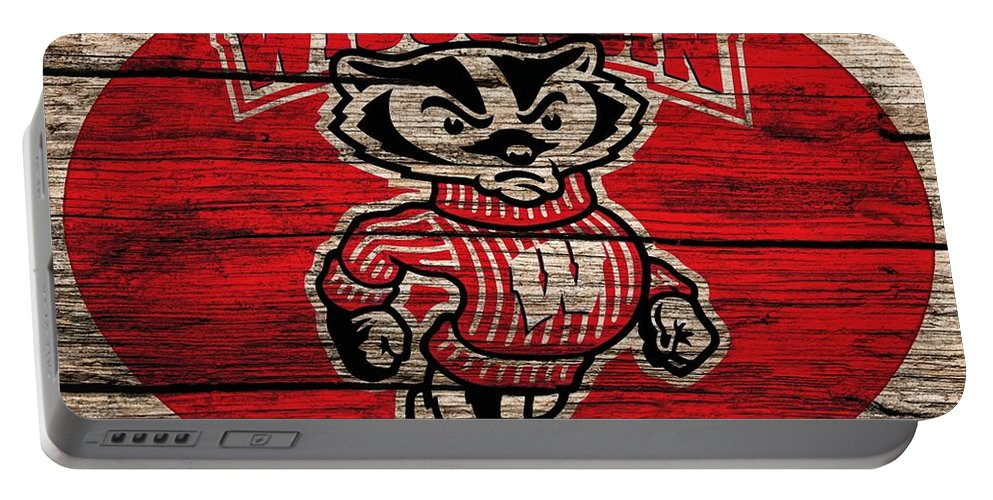 Wisconsin Badgers Barn Door Portable Battery Charger featuring the digital art Wisconsin Badgers Barn Door by Dan Sproul