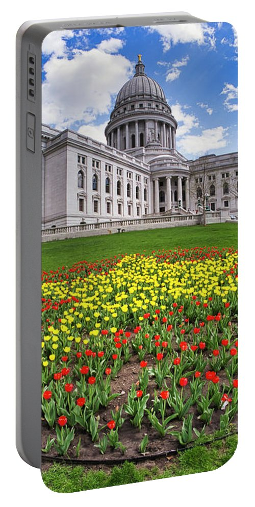 Wi Portable Battery Charger featuring the photograph Wisconsin Capitol And Tulips by Steven Ralser