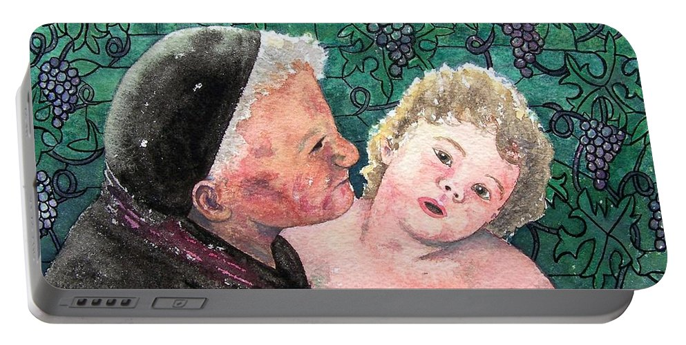 Child Portable Battery Charger featuring the painting Wisdom And Innocence by Gale Cochran-Smith