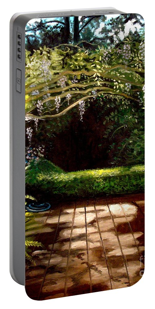 Landscape Portable Battery Charger featuring the painting Wisteria Shadows by Elizabeth Robinette Tyndall