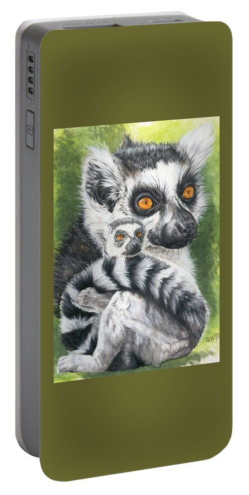 Lemur Portable Battery Charger featuring the mixed media Wistful by Barbara Keith