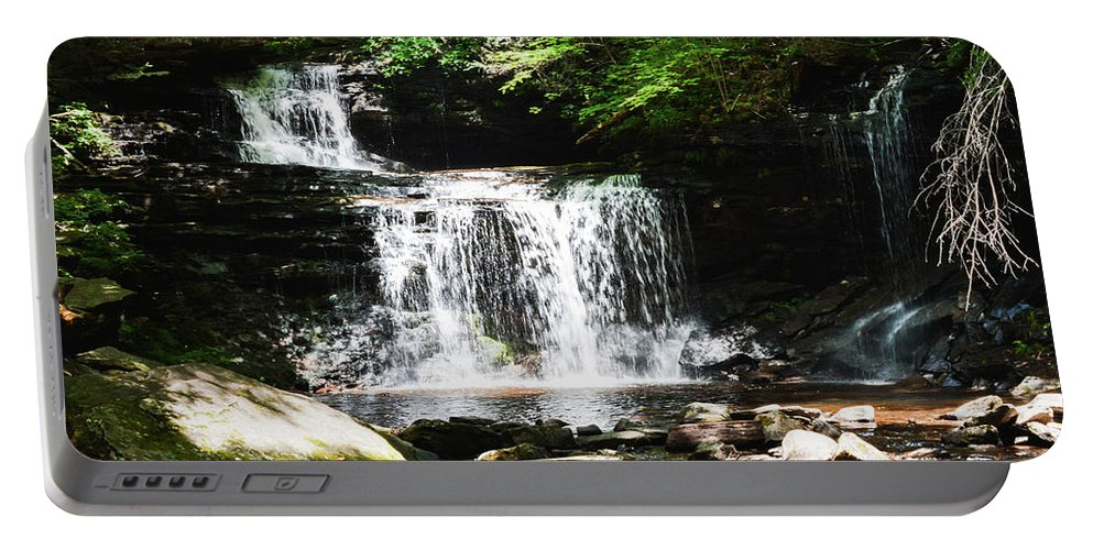Waterfalls Portable Battery Charger featuring the photograph With A Full Heart by Shelley Smith