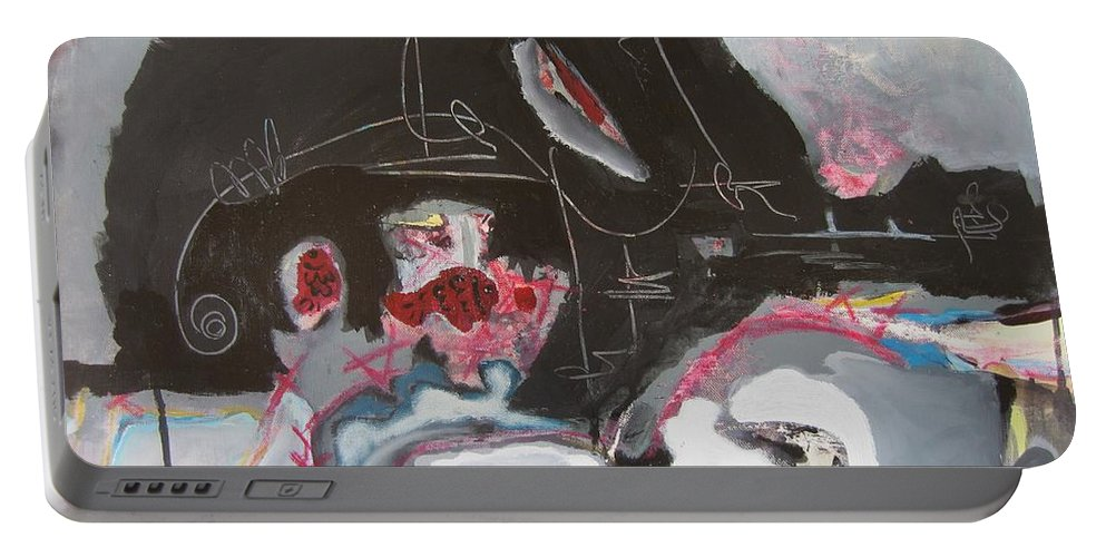 Abstract Paintings Portable Battery Charger featuring the painting With Little Escape From Life by Seon-Jeong Kim