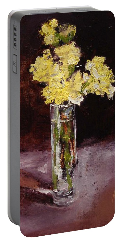 Floral Portable Battery Charger featuring the painting With Love by Barbara Andolsek
