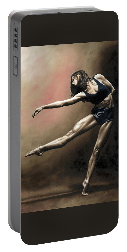 Dancer Portable Battery Charger featuring the painting With Strength and Grace by Richard Young