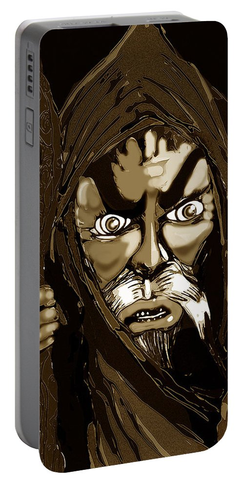 Superhero Art Portable Battery Charger featuring the painting Wizard From The Desert by Jazzboy