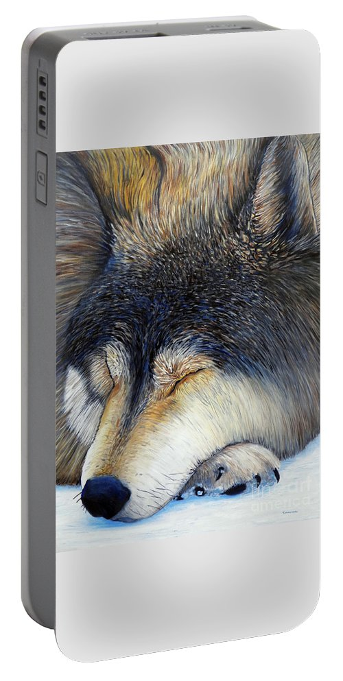 Wolf Portable Battery Charger featuring the painting Wolf Dreams by Brian Commerford