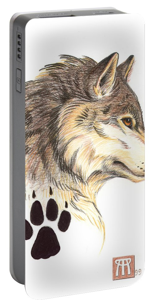 Wolf Portable Battery Charger featuring the painting Wolf Head Profile by Melissa A Benson