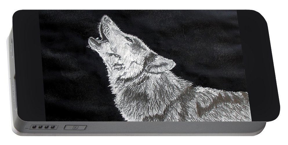 Pencil Portable Battery Charger featuring the drawing Wolf Howl by Stan Hamilton