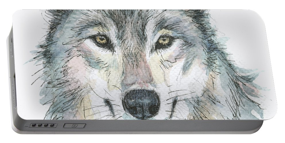 Watercolor Portable Battery Charger featuring the painting Wolf by Olga Shvartsur