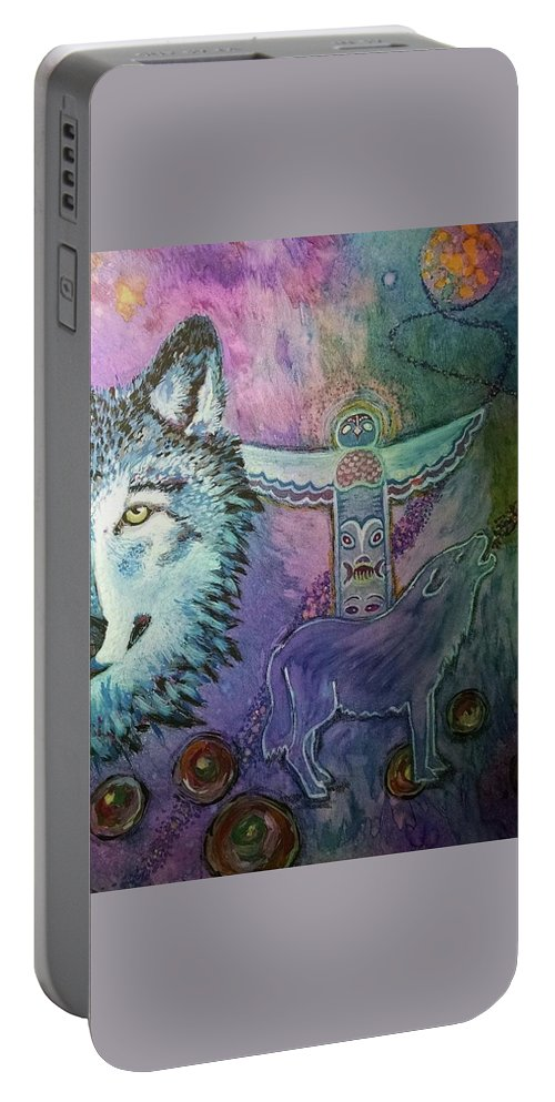 Wolf Portable Battery Charger featuring the painting Wolf Protector by Cindy Carter