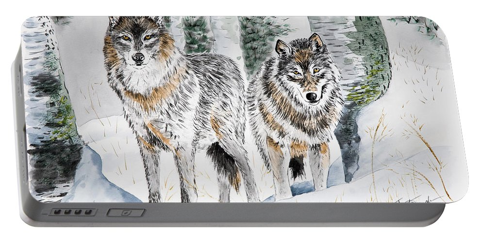 Wolves Portable Battery Charger featuring the painting Wolves In The Birch Trees by Joette Snyder