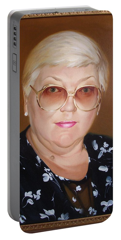 Art Portable Battery Charger featuring the painting Woman 1 by Sergey Ignatenko