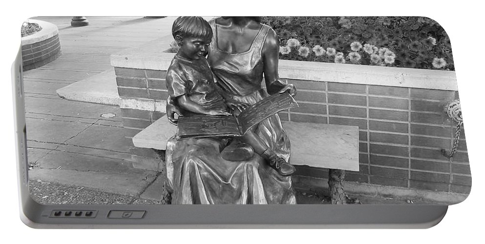 Woman And Child Sculpture Grand Junction Portable Battery Charger featuring the photograph Woman And Child Sculpture Grand Junction Co by Tommy Anderson