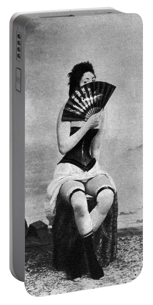 1887 Portable Battery Charger featuring the photograph Woman And Fan, C1887 by Granger