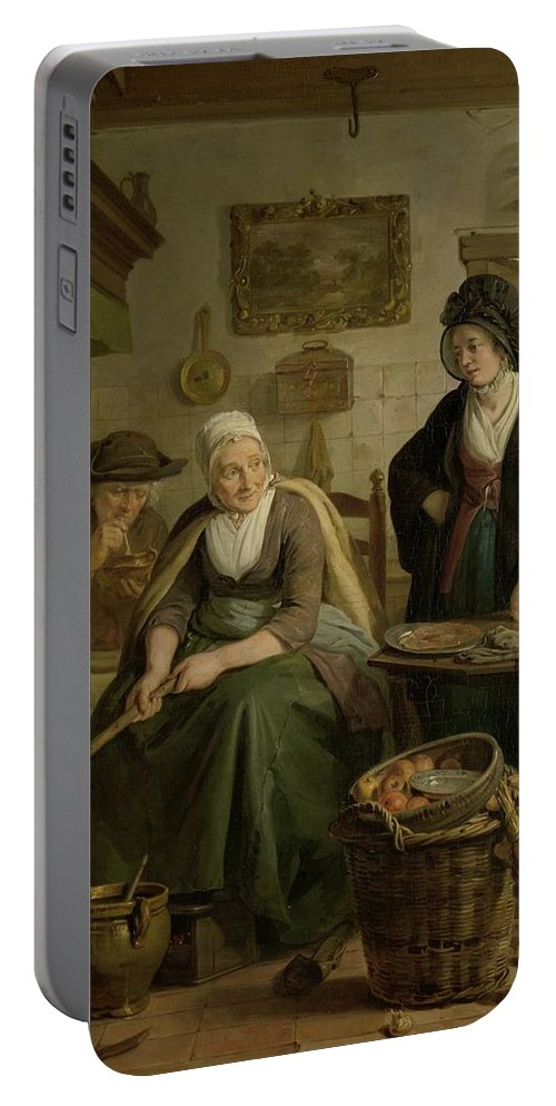Woman Baking Pancakes Portable Battery Charger featuring the painting Woman Baking Pancakes by MotionAge Designs