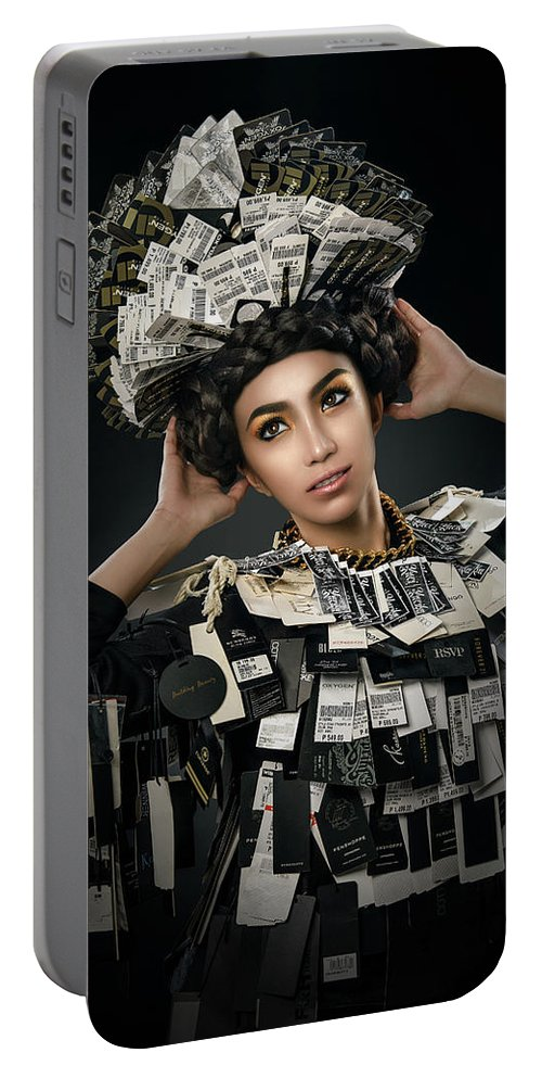 Price Tags Portable Battery Charger featuring the photograph Woman Dressed In Price Tag by Erich Caparas